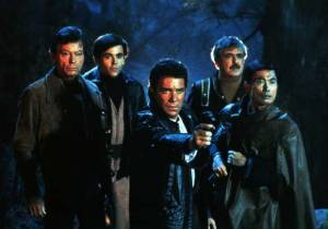 Why is only one of them pointing a gun?  Nice look Sulu...
