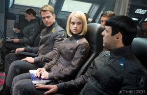 Who's the hot chick?  Not sure.  Let's let her on board to do Spock's job.  Okay.